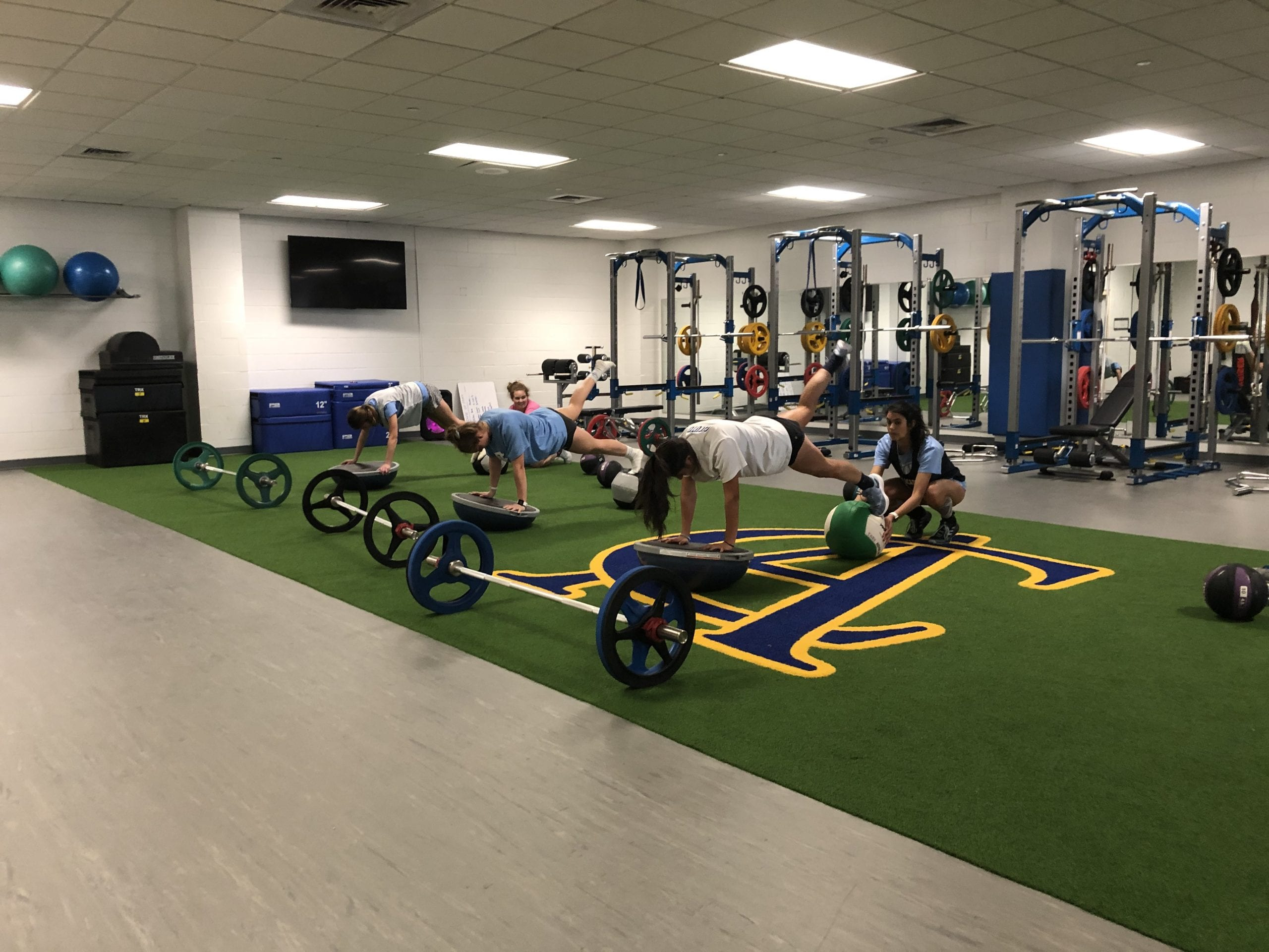 Fitness center strength and conditioning room