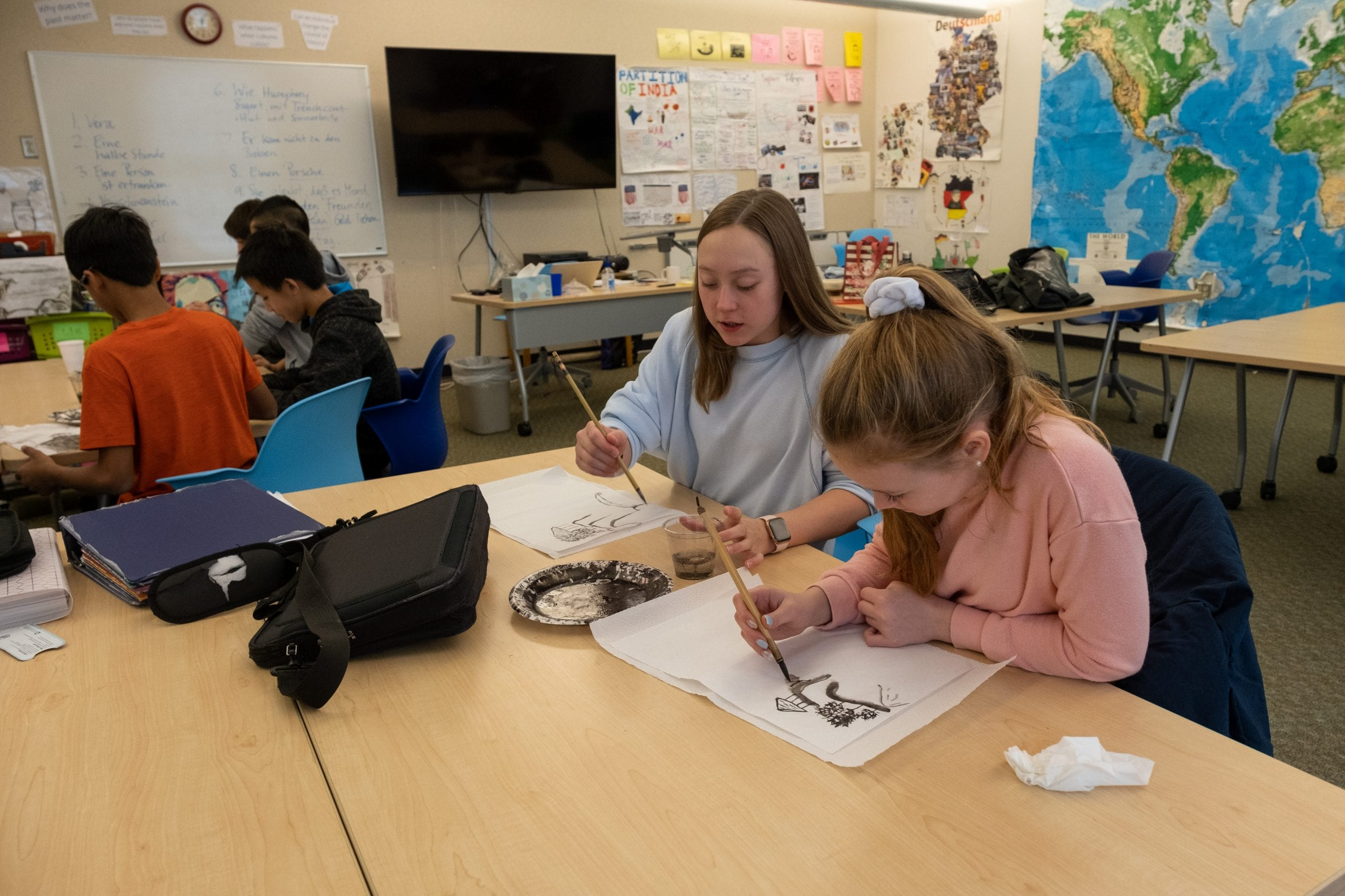 Middle School Chinese Calligraphy class