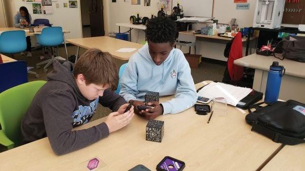 Middle School students with Merge Cubes