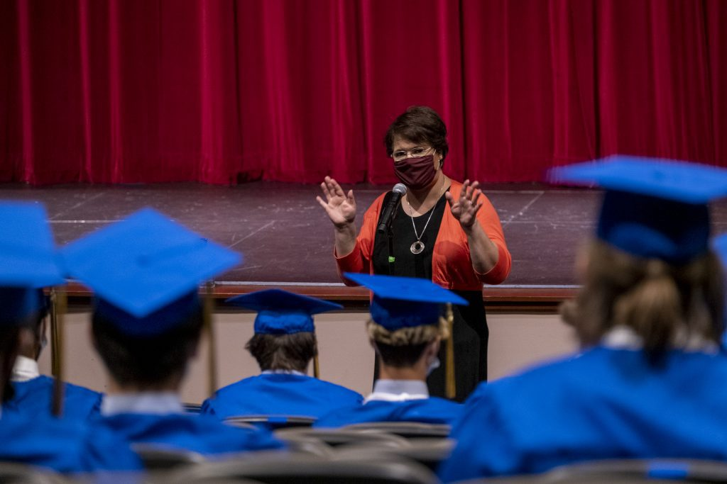 Sandra Gutierrez speaks to the class of 2021 prior to commencement