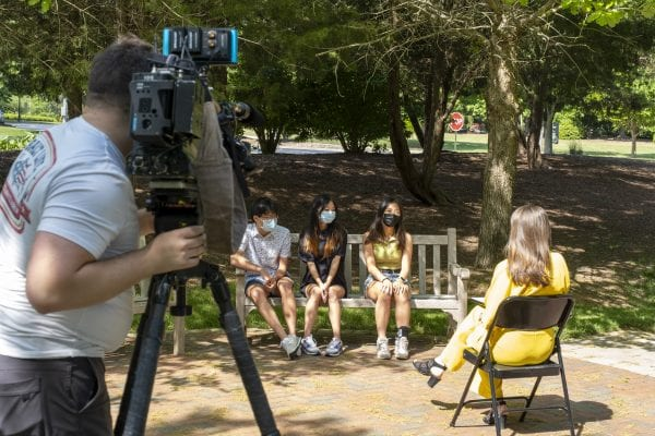 WRAL reporter Sarah Kreuger talks with CA students