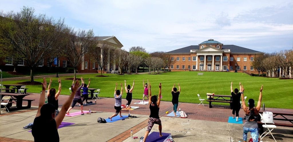 Community Flex Day Yoga on the quad