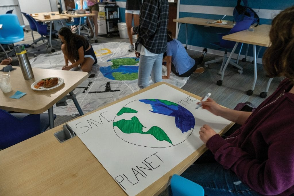 "Students design the ""Planet B"" banner"