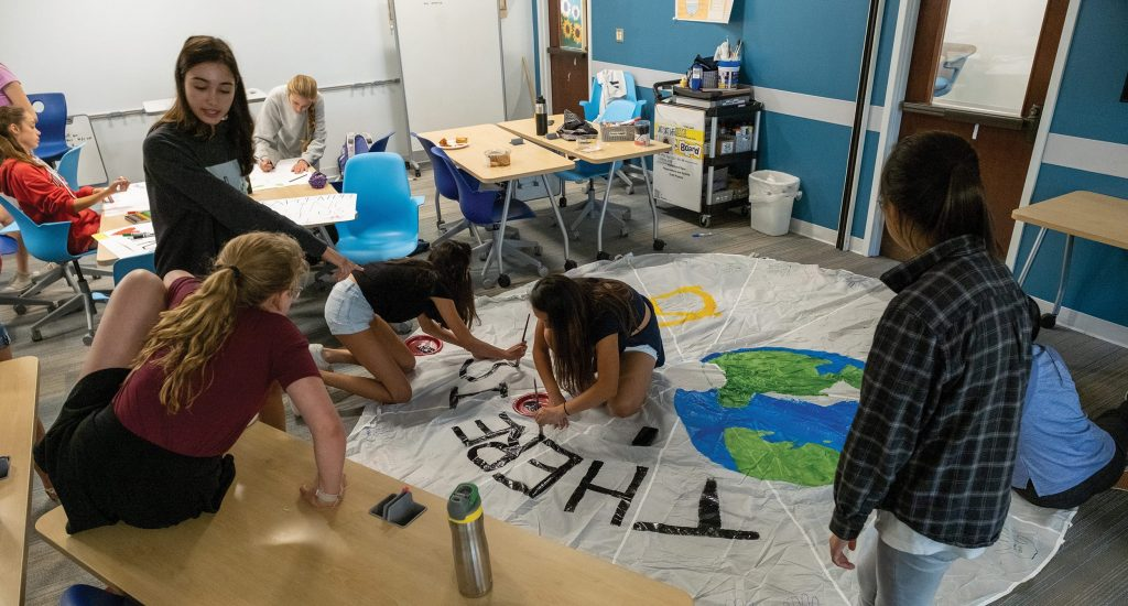 "Students make ""Planet B"" banner"