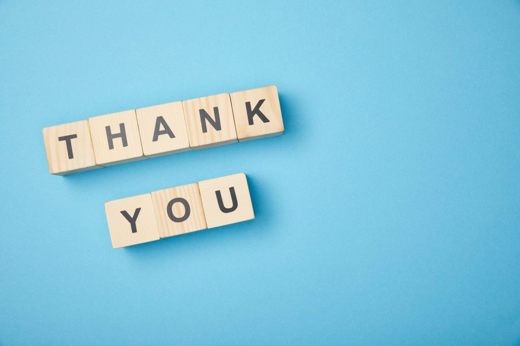Thank you written with wooden blocks